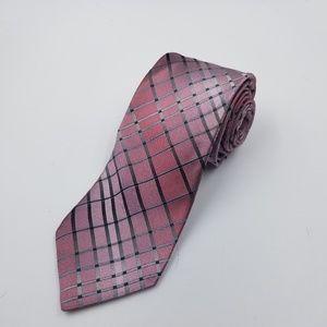 Murano pink silver silk mens dress tie
